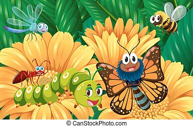 insectes, jardin fleur
