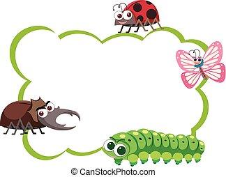 insectes, quatre, frontière, types, gabarit