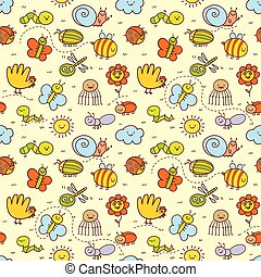 insectes, rigolote, style, ensemble, enfants