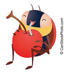 insecto, y, cereza