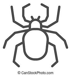 insectos, asustadizo, línea, icono, arácnido, concepto, ...