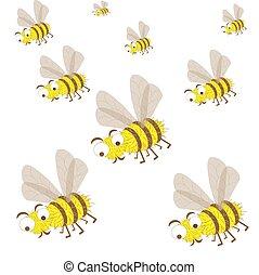 insectos, enjambre, conjunto, abejas