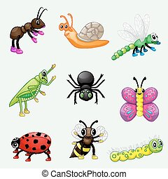 insectos, lindo, conjunto, caricatura