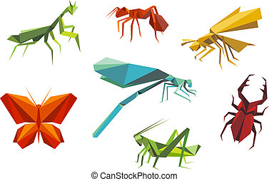 insectos, origami, estilo, conjunto