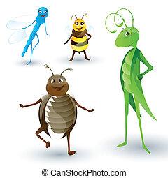 insectos, vector, caricatura
