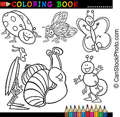 Insects and bugs for Coloring Book or Page