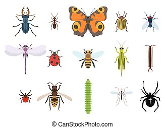 Insects and bugs, pests and midge set of icons from top...