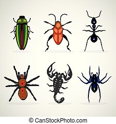 Insects animal dangerous icons set cartoon illustration