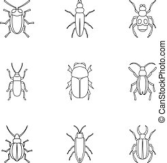 Insects beetles icons set, outline style