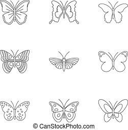 Insects butterflies icons set, outline style