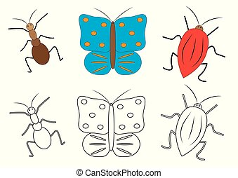 Insects cartoon. Coloring book. Game for preschool children. Vector illustration.