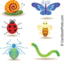 insects - six insects pattern design.