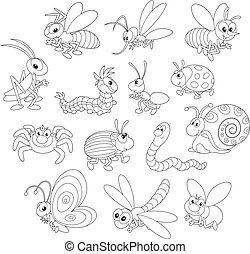 Collections of cartoony insects, black and white outline illustrations on a white background