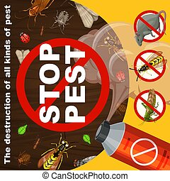 Insects extermination and pest control banner