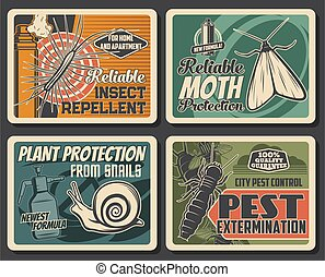 Insects extermination, pest control service, repellents and house disinsection. Vector centipede, silverfish, snail and moth fumigation. Domestic disinfestation and pest control vintage retro posters