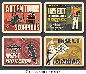 Insects extermination service, pest control and house disinsection. Vector centipede, scorpion and spider, fly, moth and bug fumigation. Domestic disinfestation and pest control vintage retro posters