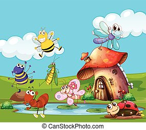 Insects flying around the pond illustration
