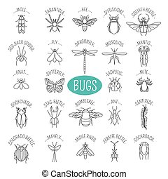 Insects icon flat style. 24 pieces