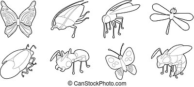 Insects icon set, outline style - Insects icon set. Outline...