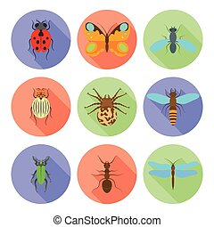 Insects icons vector flat style isolated on white background.