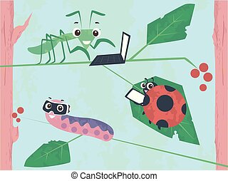 Illustration of a Grasshopper Using Laptop, a Beetle Using Tablet and a Caterpillar Using Virtual Reality Goggles