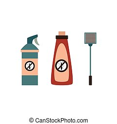 Insects extermination and pest control sprays and fly swatter, flat vector illustration isolated on white background. Insecticides and toxic chemicals bottles.