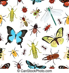 Insects seamless pattern - Insects colored seamless pattern...