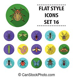Insects set icons in flat style. Big collection of insects vector symbol stock illustration