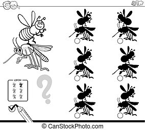 Black and White Cartoon Illustration of Finding the Shadow without Differences Educational Activity for Children with Insect Characters Coloring Book
