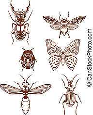 Insects tattoos in tribal style