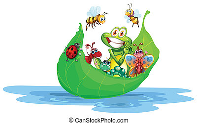 Insects - Illustration of many insects on a leaf