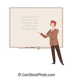 insegna, lavagna, leva piedi, programmazione, vettore, illustrazione uomo