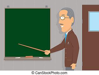 insegnamento, anziano, /, copyspace, uomo