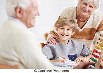 insegnamento, suo, nipote, matematica, nonno