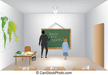 insegnante, appresso, lavagna, in, classroom., vettore