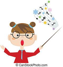 insegnante, di, il, music.