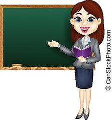 insegnante, femmina, standing, cartone animato, nex