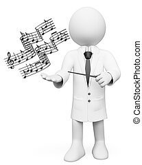 insegnante, musica, persone., 3d, bianco