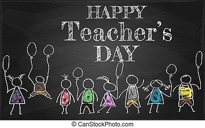 insegnante, o, manifesto, creativo, felice, bandiera, giorno, bello