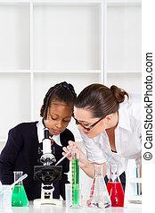 insegnante, porzione, primario, scolara