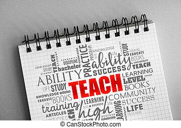 insegnare, nuvola, parola, collage