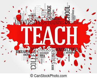 insegnare, parola, nuvola