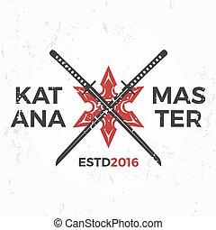 insegne, badge., arte, ninja, vendemmia, katana, giapponese, illustrazione, t-shirt, marziale, concetto, maestro, fondo, squadra, grunge, design., logo., mascotte