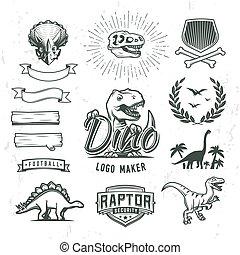 insegne, concetto, scudo, dino, periodo, logotipo, alloro, template., design., giurassico, set., logotype, cretaceous, etichetta, cresta, fabbricante, mondo, bandiera, illustration., creator., distintivo, t-rex, dinosauro, vettore, collection., o