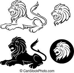 insegne, leone, siluette
