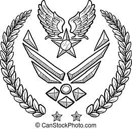 insegne, militare, forza, ci, aria