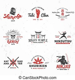 insegne, ninjas, concetto, arte, vendemmia, squadra, katana, giapponese, illustrazione, t-shirt, marziale, badge., set, maestro, fondo, ninja, grunge, mascotte, logo., design.