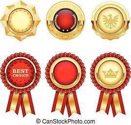 insegne, oro, araldico, premio, rosso, rosette, medaglie