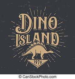 insegne, scuro, stegosaurus, illustration., giurassico, dino, isola, concept., parco, periodo, t-shirt, dinosauro, vettore, fondo, vendemmia, logotipo, distintivo, nazionale, design.