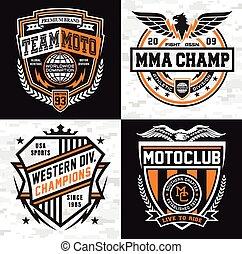 insegne, set, emblema, sport